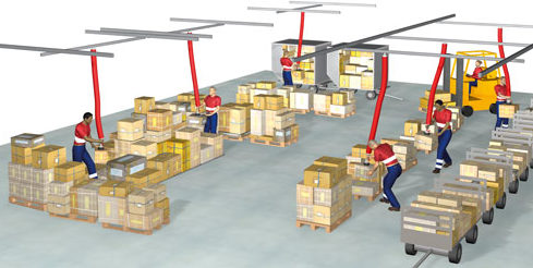 Illustration showing 6 men using vacuum lifting equipment to lift boxes onto pallets.
