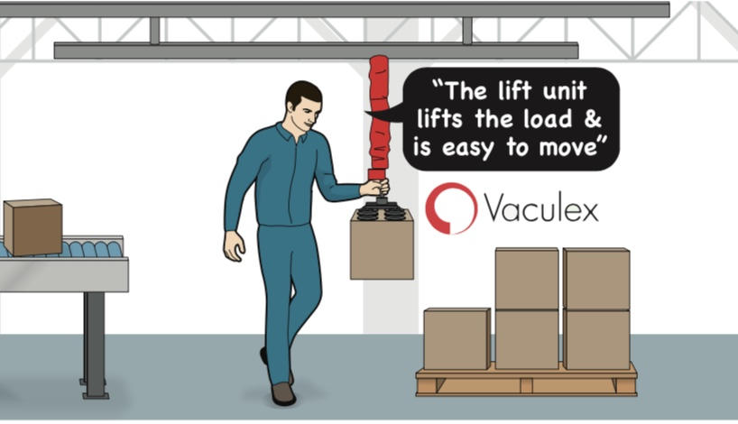 Worker using Vacuum lifting equipment to load a pallet